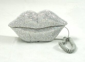 hat lips phone grey rhinestone home decor technology
