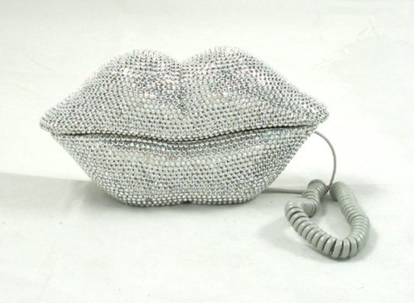 phone hat lips grey rhinestone
