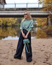 sweater,oversized sweater,fine knit jumper,wide-leg pants,high waisted pants,handbag,mini bag,sunglasses