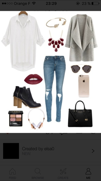 jacket this is a grey jacket boots black boots little black boots blouse white blouse bag casque necklace outfit outfit idea fashion jeans ripped jeans skinny jeans sunglasses