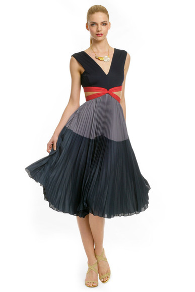 colorblock dress dress pleated dress open back blue dress bcbgmaxazria bcbg blue dress backless dress backless cut-out dress navy dress red gray dress v neckline pleated dress blue