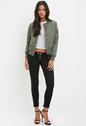 jacket white t-shirt green jacket black heels