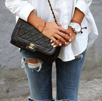 jeans blouse white blouse shirt skinny jeans denim bag chanel bag black leather jewels ring gold ring bracelets watch white watch argent white clothes accessories womens accessories jewelry