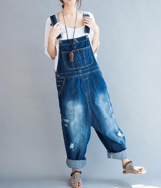 pants loose fitting bib jeans long pants