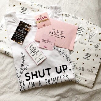 t-shirt yeah bunny princess shut up im a princes white t-shirt