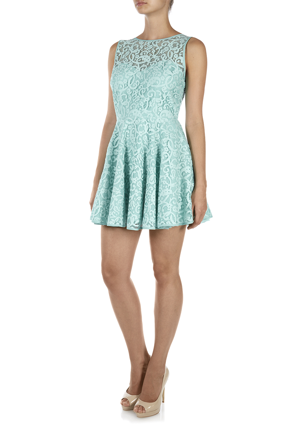 Drop Back Lace Skater Dress - Matalan