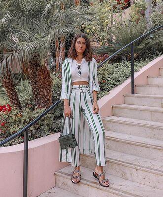 pants crop tops white top kimono stripes bag shoes sandals