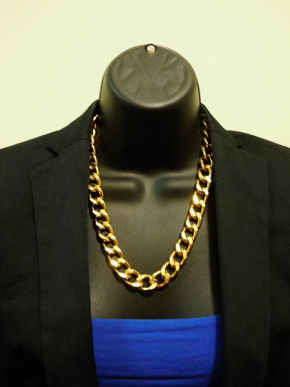 Gold chunky chain necklace by cohosupplies on etsy