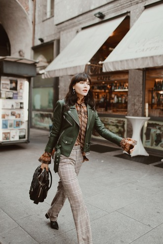 natalie off duty blogger jacket blouse pants shoes bag jewels leather jacket grey pants winter outfits