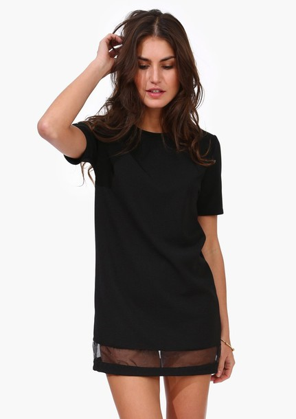Dress Little Black Dress Black Sheer Panel Mini Dress T Shirt