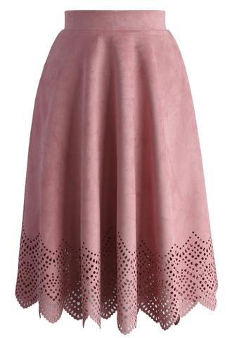skirt blush pink suede cutout midi skirt chicwish pink cut-out midi pink suede skirt