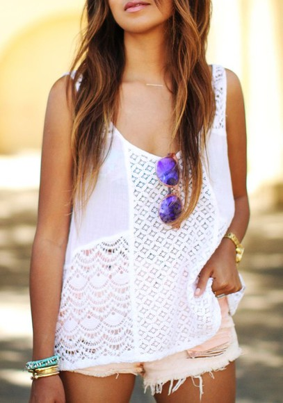 shirt white dentelle boho bohemian bohemian style sunglasses blouse shorts