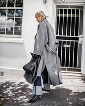 coat,tumblr,grey coat,oversized,oversized coat,grey long coat,long coat,denim,jeans,boots,black boots,bag,black bag