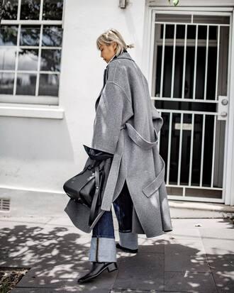 coat tumblr grey coat oversized oversized coat grey long coat long coat denim jeans boots black boots bag black bag
