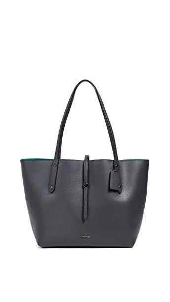 coach leather navy teal bag