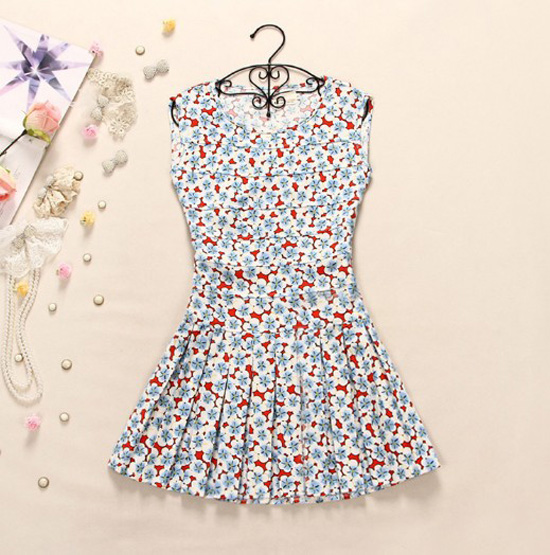 New Style Backless Printing Sleeveless Fashion Lovely Dress on Luulla
