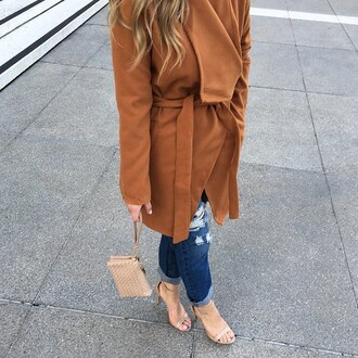 coat jacket trench coat winter coat winter outfits ootd ootn fashion week paris clutch nude heels camel beige nude orange gojane