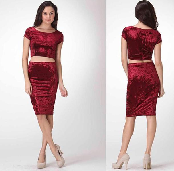 Dress dress set skirt set pencil skirt short sleeve velvet burgundy party clubwear date ...