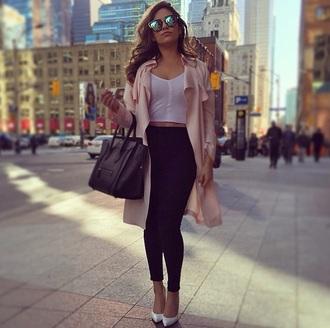 coat sunglasses pants leggings jeggings bag crop tops pointed toe top shoes