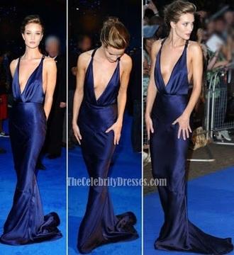 dress blue dress rosie huntington-whiteley backless dress