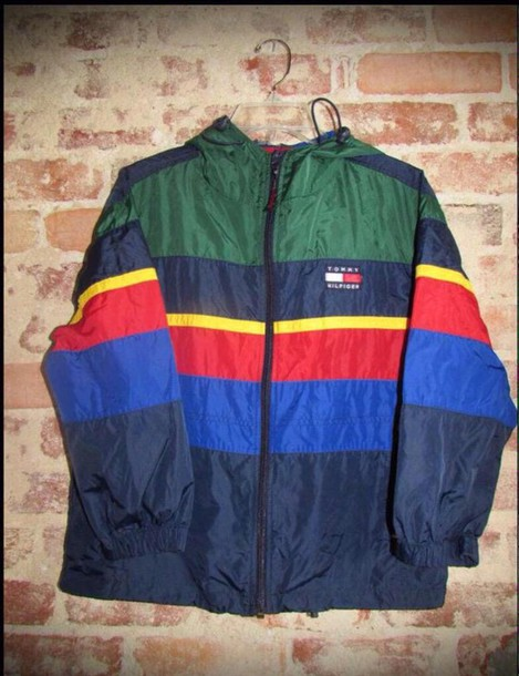 jacket tommy hilfiger windbreaker navy old school tommy hilfiger jacket blue red yellow. Black Bedroom Furniture Sets. Home Design Ideas