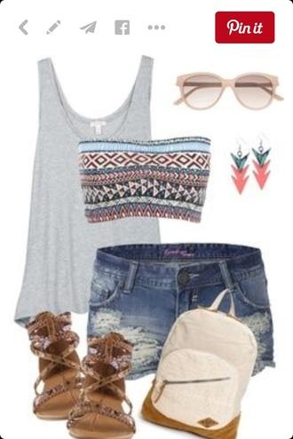 shirt top shorts shoes bag jewels sunglasses