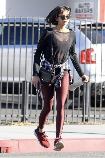 leggings top sweatshirt nina dobrev streetstyle blouse