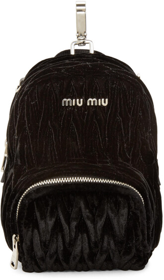 backpack black velvet bag