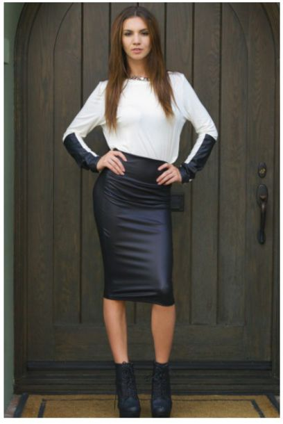 Skirt: leather, leather skirt, midi skirt, high waisted, bodycon ...
