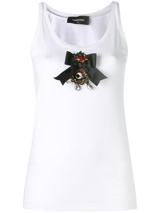 tank top top bow embroidered women white cotton