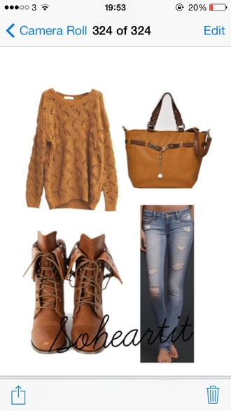 bag brown jeans shoes sweater shoulder tote bag mustard jumper yellow ripped