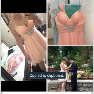 tangerine formal sparkles accents spaghetti straps formal dress