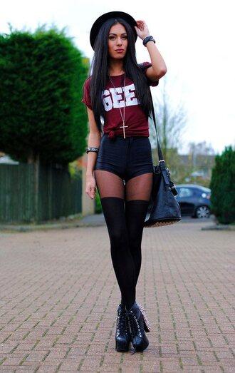 shorts scarf tumblr hat necklace shoes pantyhose shirt bag underwear