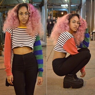 shirt top stripes 90s style cropped sweater sweater pastel hair curly hair