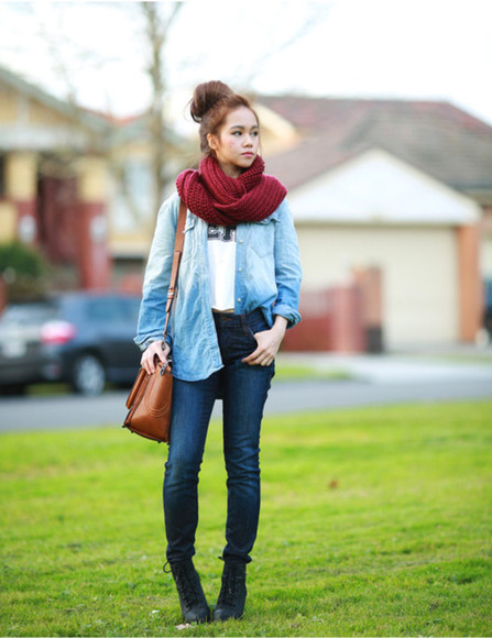 jeans shoes bag denim shirt scarf burgundy blogger chloe ting fall outfits