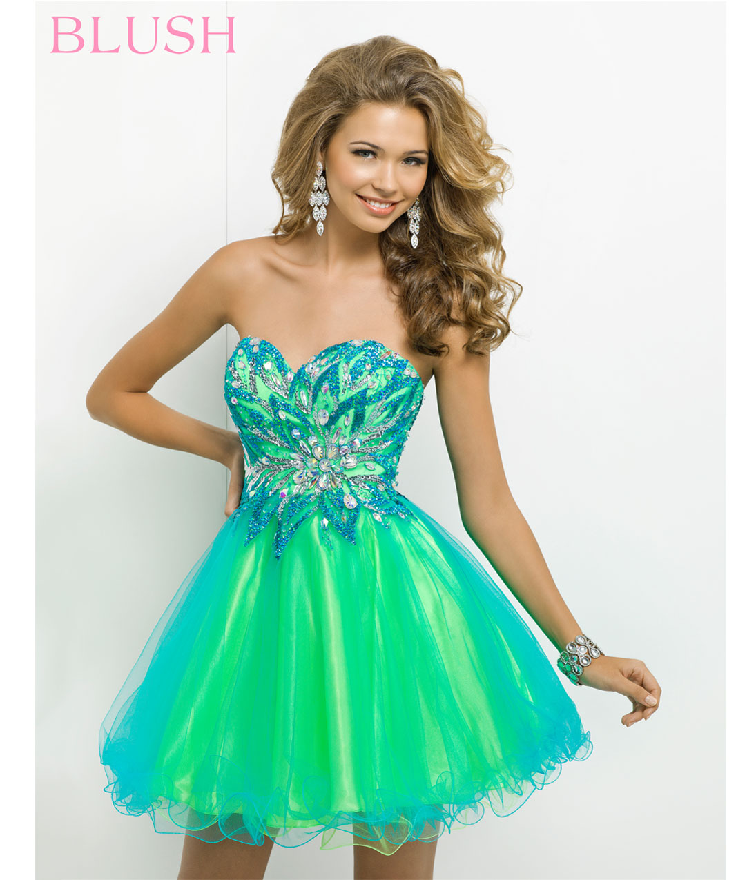 Blush 2014 Prom Dresses - Turquoise & Lime Strapless Short Prom ...