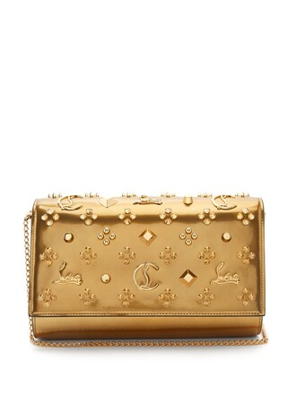 leather clutch embellished clutch leather gold bag