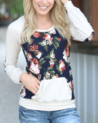 sweater casual floral white black top fashion style fall outfits long sleeves