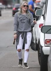jeans,white jeans,hilary duff,sweatshirt,sneakers,shoes