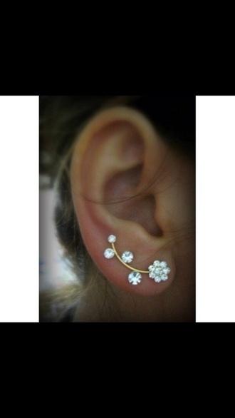 jewels earrings flower earrings floral flowers cute ear cuff chic new gold jewelry floral jewelry gold jewelry