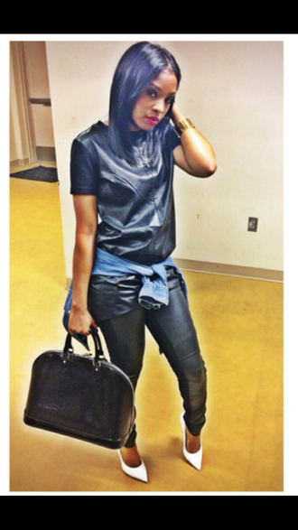 leather pants leather shirt denim button down white pointy toe heels white heels louis vuitton bag swag blackbarbie