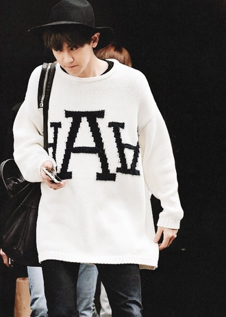 sweater cool beautiful kpop korean fashion exo fashion style cute jumper shirt oversized sweater oversized t-shirt