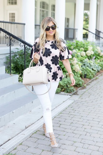 suburban faux-pas blogger blouse jeans sunglasses bag shoes jewels heels handbag givenchy givenchy bag white pants summer outfits