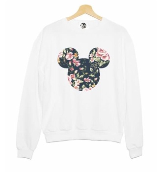 sweater white floral micky mouse shirt disney white sweater style