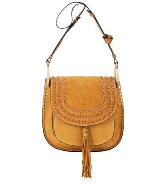 bag shoulder bag suede yellow