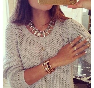 silver necklace statement necklace beige sweater knitted sweater sweater fall sweater college stacked bracelets gold bracelet gold ring nail polish bracelets jewels jewelry necklace fine knit jumper