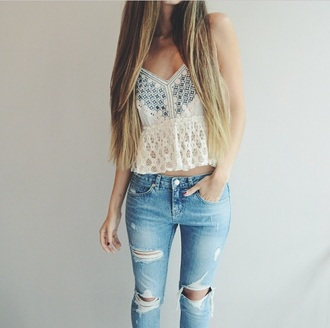 top jeans tank top crop tops denim white top white tank top white crop tops lace top white top. white lace top ripped jeans torn jean ripped vintage summer top summer outfits outfit summer out summer oufit torn clothes