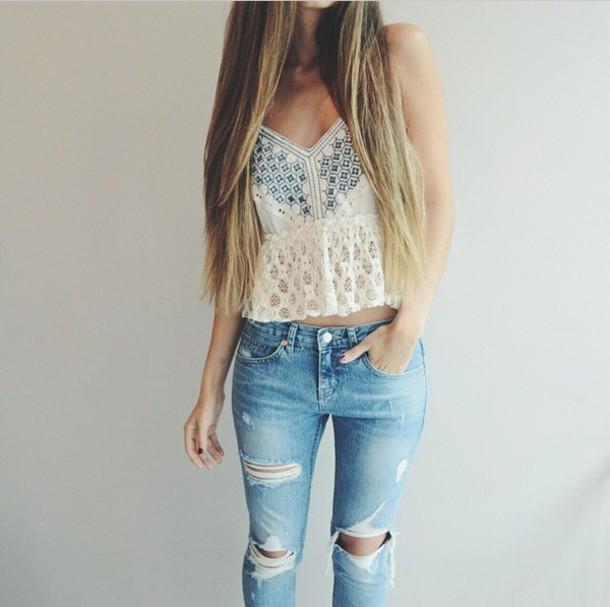 top, jeans, tank top, crop tops, denim, white top, white ...