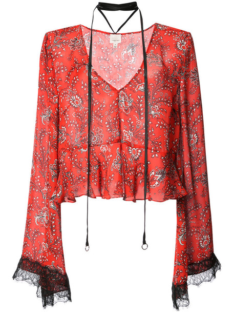 Cinq a Sept blouse women floral print silk red top