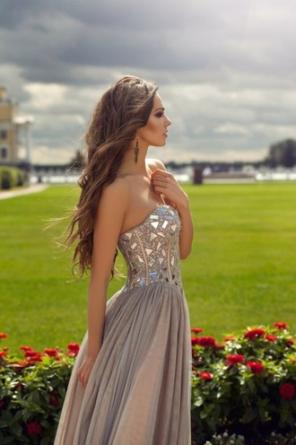 dress long prom dress corset top pink jewels prom dress long prom dress tan dress sparkly dress